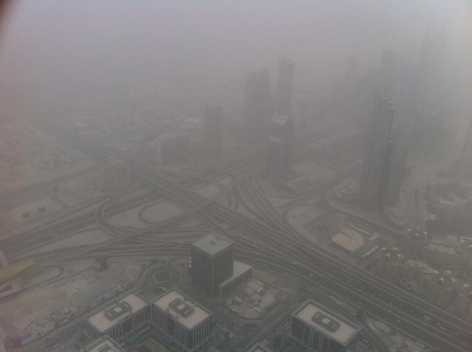 A windy day in Dubai, view from Burj Khalifa